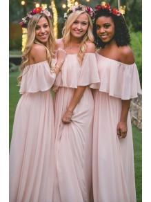 Long Pink Chiffon Floor Length Bridesmaid Dresses 99601460