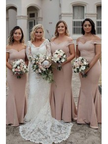 Mermaid Off-the-Shoulder Long Floor Length Bridesmaid Dresses 99601461