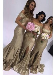 Mermaid Sequins Off-the-Shoulder Long Floor Length Bridesmaid Dresses 99601465