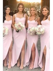 Sheath Long Pink Floor Length Bridesmaid Dresses 99601467