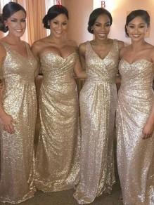 Sequins Long Floor Length Bridesmaid Dresses 99601468