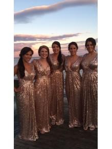 Sheath/Column Sequins V-Neck Floor Length Bridesmaid Dresses 99601469