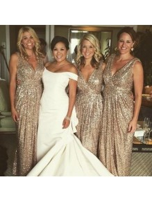 Sheath/Column Sequins V-Neck Floor Length Bridesmaid Dresses 99601470