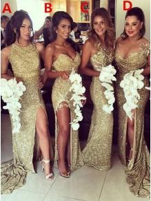 Sheath Sequins Floor Length Bridesmaid Dresses 99601470