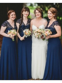 A-Line Lace and Chiffon Long Navy Blue Floor Length Bridesmaid Dresses 99601475