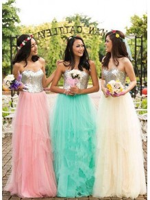 A-Line Sequins and Tulle Floor Length Bridesmaid Dresses 99601476