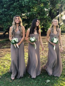 A-Line V-Neck Floor Length Bridesmaid Dresses 99601479