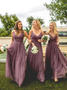 A-Line V-Neck Spaghetti Straps Floor Length Bridesmaid Dresses 99601480