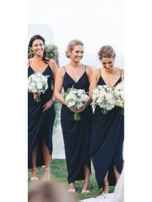 Sheath Spaghetti Straps V-Neck Bridesmaid Dresses 99601481