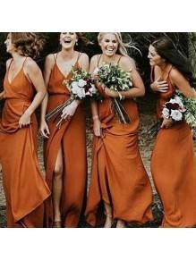 Sheath Spaghetti Straps V-Neck Floor Length Bridesmaid Dresses 99601482