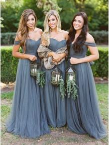 A-Line Off-the-Shoulder Long Floor Length Bridesmaid Dresses 99601483