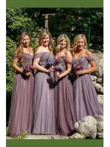 A-Line Off-the-Shoulder Long Floor Length Bridesmaid Dresses 99601484