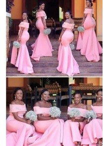 Mermaid Off-the-Shoulder Long Pink Plus Size Floor Length Bridesmaid Dresses 99601487