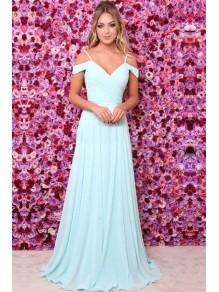 A-Line V-Neck Chiffon Floor Length Bridesmaid Dresses 99601488