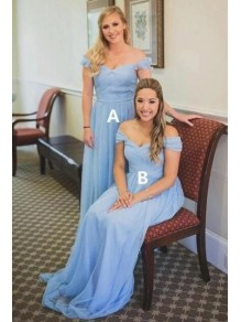 A-Line Chiffon Off-the-Shoulder Long Floor Length Bridesmaid Dresses 99601500