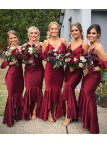 Mermaid V-Neck Spaghetti Straps Floor Length Bridesmaid Dresses 99601504