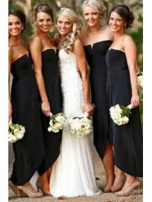 Sheath Strapless Black Floor Length Bridesmaid Dresses 99601510