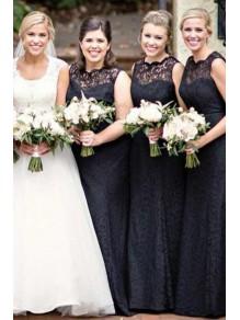 Long Black Lace Floor Length Bridesmaid Dresses 99601511