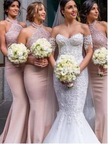 Mermaid Lace Long Floor Length Bridesmaid Dresses 99601517