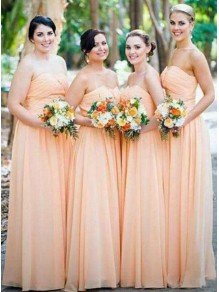 A-Line Long Chiffon Floor Length Bridesmaid Dresses 99601518