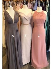 A-Line Long Chiffon Floor Length Bridesmaid Dresses 99601519