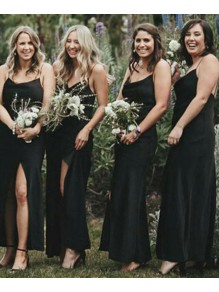 Sheath Spaghetti Straps Long Black Bridesmaid Dresses 99601521