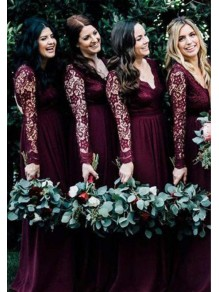 Long Sleeves Lace V-Neck Floor Length Bridesmaid Dresses 99601522