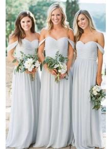 A-Line Off-the-Shoulder Chiffon Long Floor Length Bridesmaid Dresses 99601523