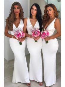 Mermaid Long White V-Neck Floor Length Bridesmaid Dresses 99601525