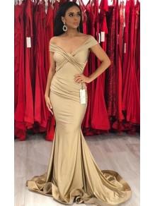 Mermaid Off-the-Shoulder Long Floor Length Bridesmaid Dresses 99601527
