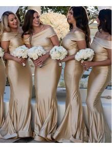 Mermaid Off-the-Shoulder Long Floor Length Bridesmaid Dresses 99601528