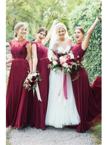 A-Line Beaded Lace and Chiffon Long Floor Length Bridesmaid Dresses 99601530