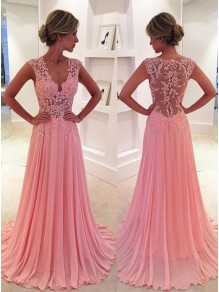 A-Line V-Neck Chiffon Lace Long Pink Prom Evening Formal Dresses 99602047