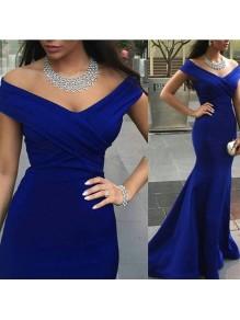 Trumpet/Mermaid Off-the-Shoulder Long Royal Blue Prom Evening Formal Dresses 99602095