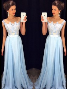 Long Blue Lace Chiffon See Through Prom Evening Formal Dresses 99602097