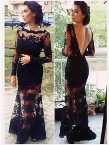 Long Sleeves Low V-Back Black Lace See Through Prom Evening Formal Dresses 99602098