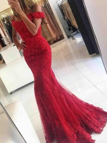 Long Red Beaded Lace Off-the-Shoulder Mermaid Prom Formal Evening Party Dresses 996021051