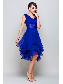 Short Royal Blue V-Neck Homecoming Prom Evening Party Dresses 996021125
