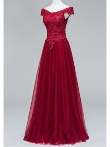 Lace Tulle Off-the-Shoulder Long Prom Formal Evening Party Dresses 996021229