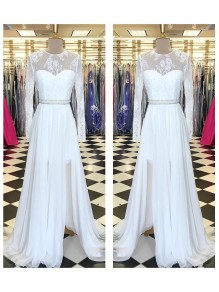 Long White Beaded Lace Chiffon Prom Formal Evening Party Dresses 996021230
