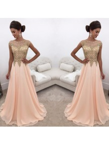 A-Line Gold Lace Appliques Chiffon Prom Formal Evening Party Dresses 996021244