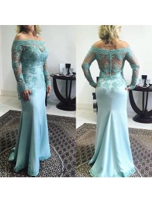 Mermaid Long Sleeves Off-the-Shoulder Lace Prom Formal Evening Party Dresses 996021401