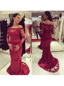 Mermaid Long Sleeves Lace Burgundy Prom Formal Evening Party Dresses 996021417