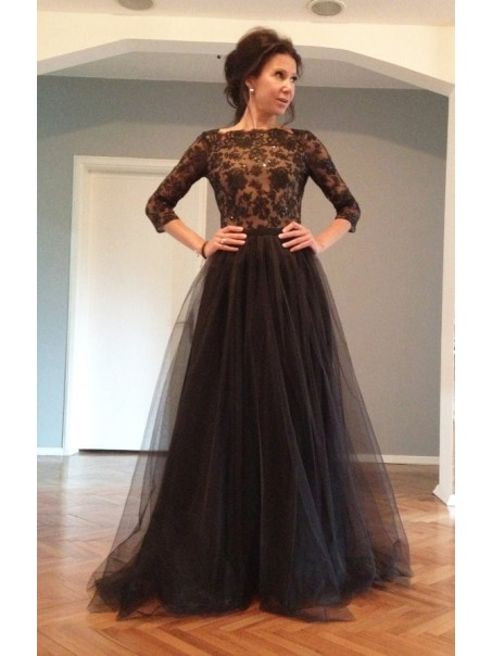 3/4 Sleeves Lace Top Long Black Prom Evening Formal Dresses 99602147