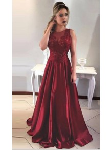 A-Line Satin Lace Long Prom Evening Formal Dresses 996021549
