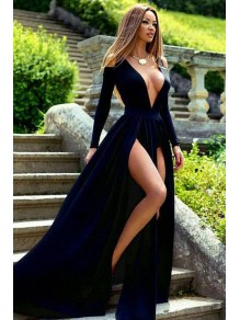 Sexy Deep V-Neck Long Sleeves Prom Evening Formal Dresses with High Slits 996021554
