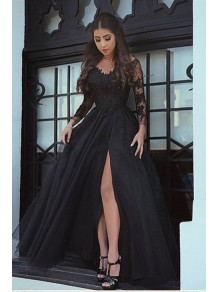 Long Sleeves V-Neck Lace Prom Evening Formal Dresses 996021557