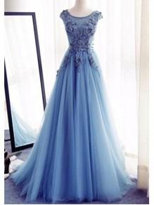 A-Line Long Blue Lace Prom Dresses Formal Evening Dresses 996021602
