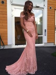 Mermaid Long Pink Lace Off-the-Shoulder Prom Dresses Formal Evening Dresses 996021620