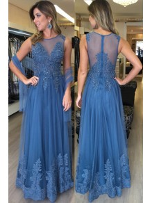 Lace and Tulle Long Long Prom Dresses Formal Evening Dresses 996021668